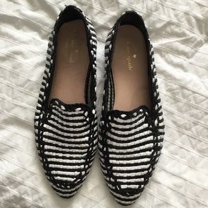 Kate Spade Black and White Weave Loafers Size 8